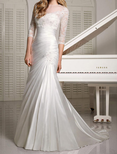 لباس عروس پوشیده,لباس تور شیک و پوشیده,لباس عروس آستین دار (8)