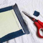 لبه های افقی را روی جلد بخوابانید و قسمت اضافی را ببرید