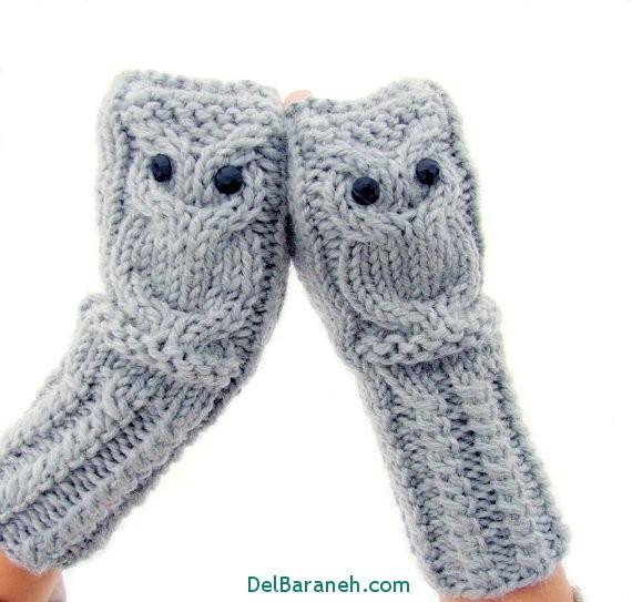 مدل دستکش بافتنی و چرم (1)