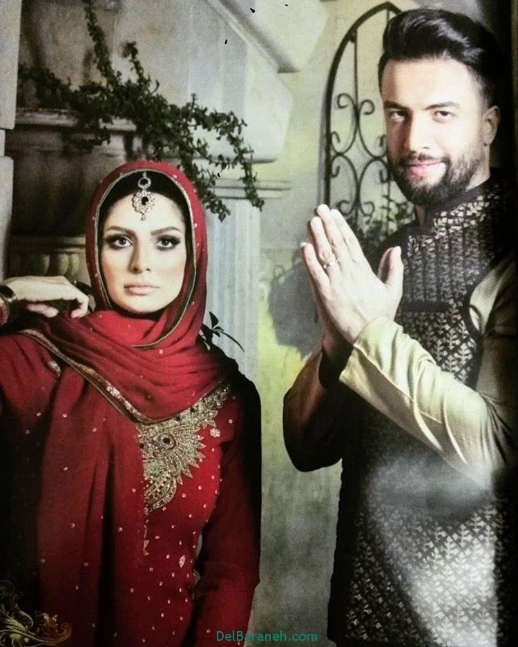 عکس بنیامین بهادری و همسرش شایلی محمودی با لباس هندی