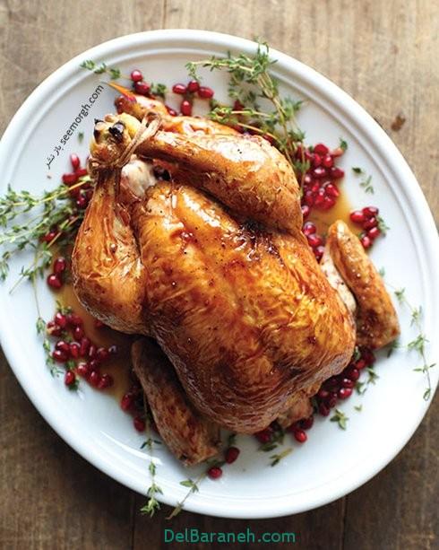 مرغ بریان با سس انار برای شب یلدا
