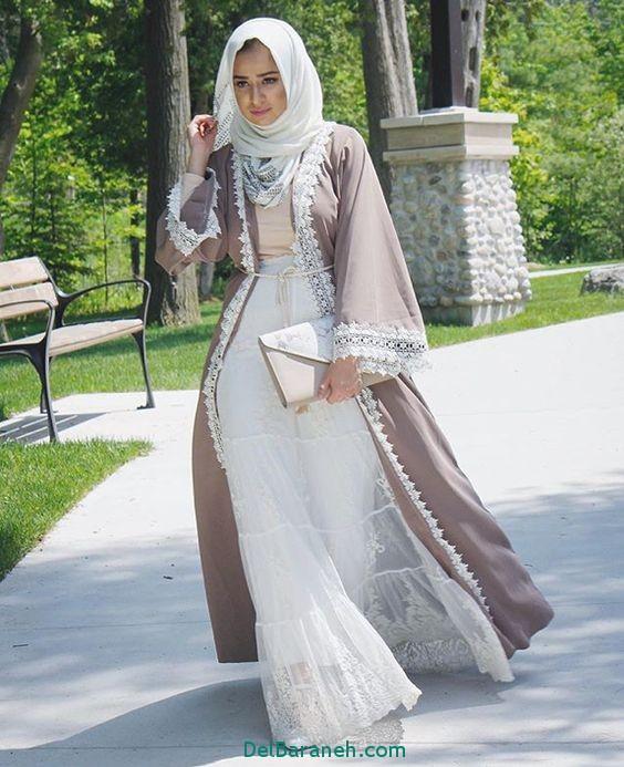 مدل مانتو عبایی جلو باز عربی (12)