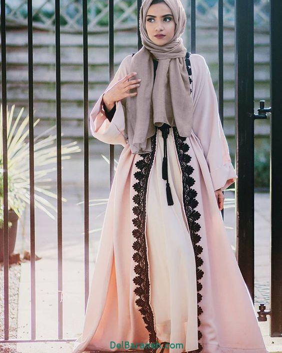 مدل مانتو عبایی جلو باز عربی (8)