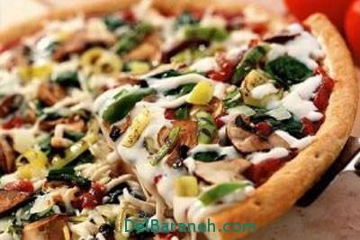 آموزش طرز تهیه پخت پیتزا پیراشکی گیاهی+تزیین