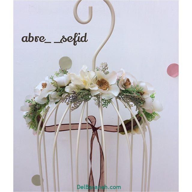 تاج گل عروس گل طبیعی مصنوعی (۱۱)