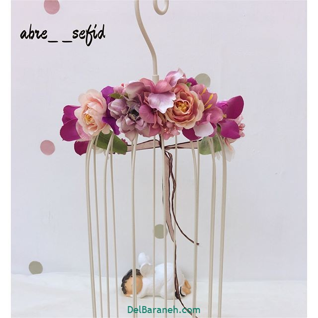 تاج گل عروس گل طبیعی مصنوعی (۱۲)