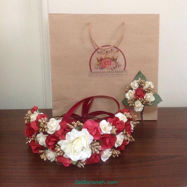 تاج گل عروس گل طبیعی مصنوعی (۱۷)
