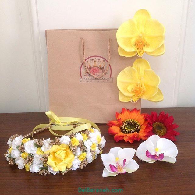 تاج گل عروس گل طبیعی مصنوعی (۲۵)