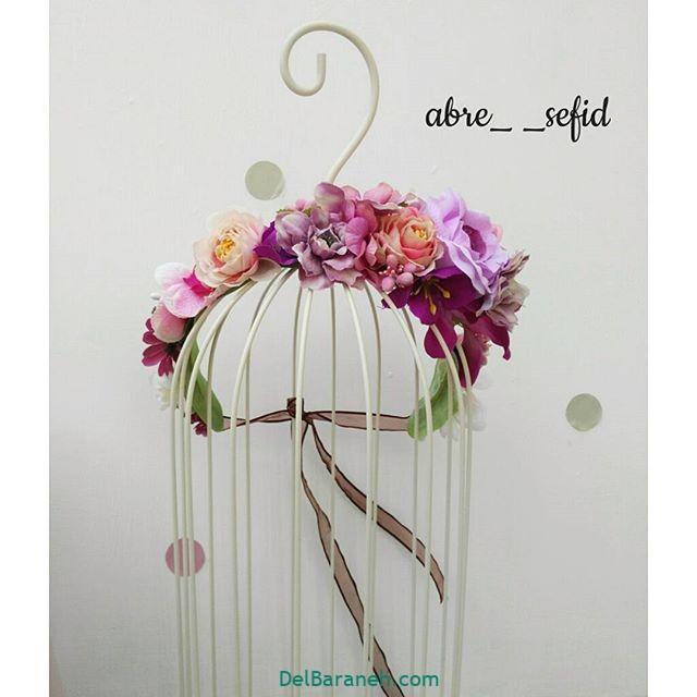 تاج گل عروس گل طبیعی مصنوعی (۹)