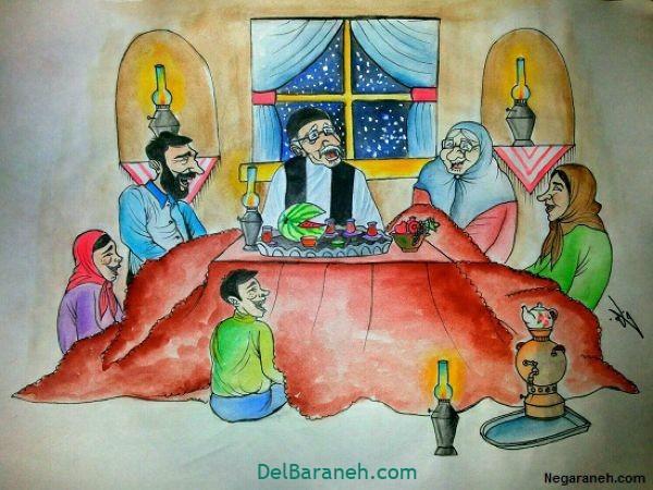 رنگ آمیزی نقاشی شب یلدا (۱۱)