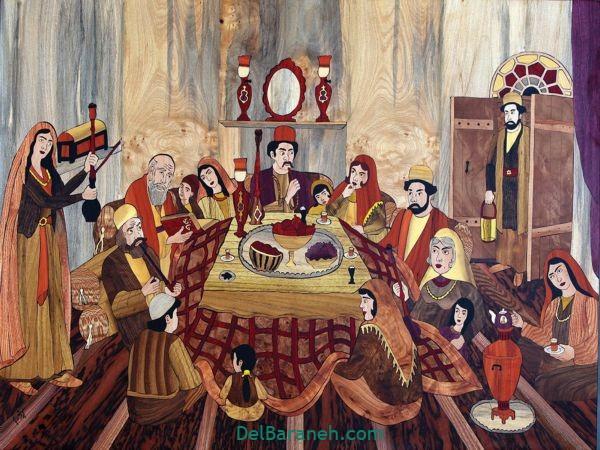 رنگ آمیزی نقاشی شب یلدا (۱۴)