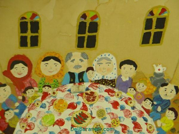 رنگ آمیزی نقاشی شب یلدا (۱۶)