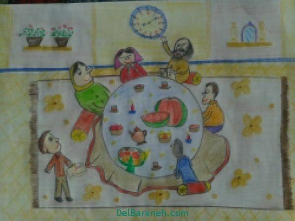رنگ آمیزی نقاشی شب یلدا (۲۸)