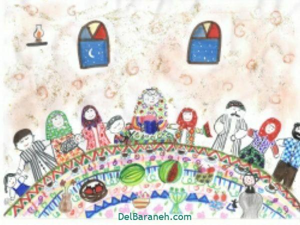 رنگ آمیزی نقاشی شب یلدا (۳۲)