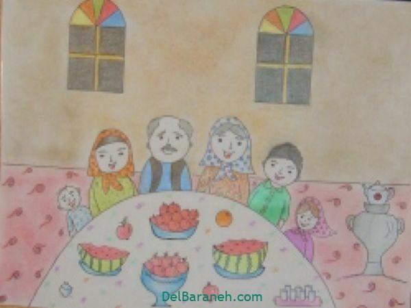 رنگ آمیزی نقاشی شب یلدا (۳۴)