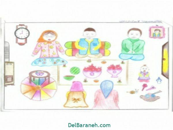 رنگ آمیزی نقاشی شب یلدا (۳۷)