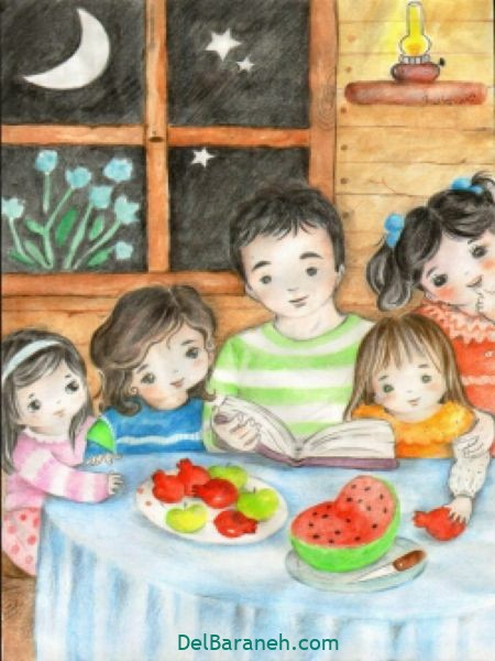 رنگ آمیزی نقاشی شب یلدا (۵۳)