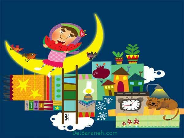رنگ آمیزی نقاشی شب یلدا (۹)