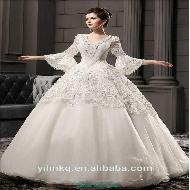 لباس عروس آستین دار (۵)