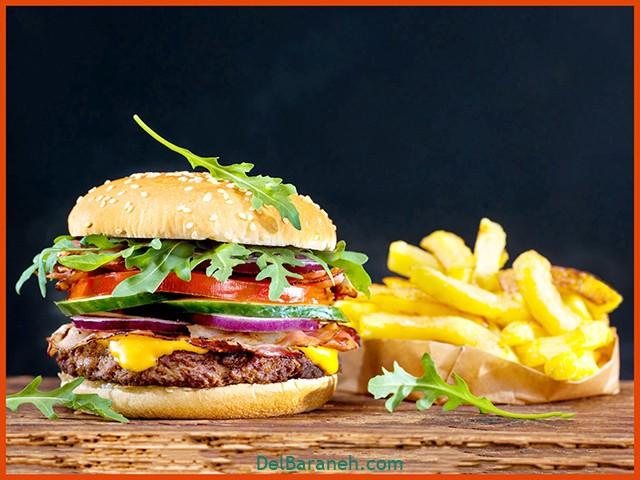 طرز تهیه همبرگر خانگی معمولی خوشمزه (۲)