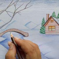 نقاشی برف و زمستان | ۳۰ نقاشی از فصل زمستان و روز برفی برای کودکان