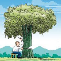 نقاشی درخت | ۶۰ نقاشی و کاریکاتور با موضوع درخت و درختکاری برای کودکان