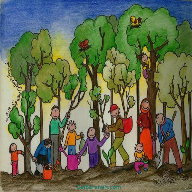 نقاشی درخت درختکاری (۱)
