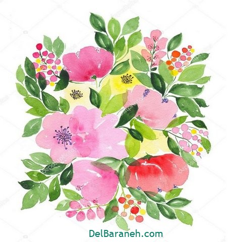 Watercolor bouquet of flowers isolated on white background illustration