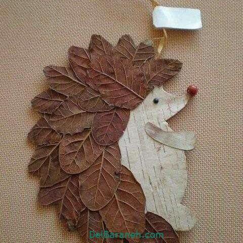 کاردستی با چوب و برگ درخت
