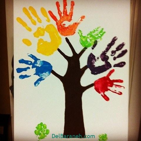 کاردستی ساده با دست رنگی (۲۹)