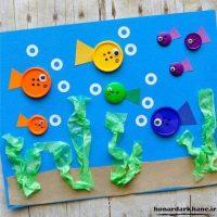 کاردستی ساده  | ۷۰ ایده کاردستی کودکانه با نمد مقوا کاموا برگ دکمه و مواد بازیافتی