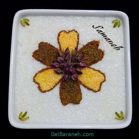 تزیین شیر برنج با پودر نارنگیل رنگی و گل محمدی