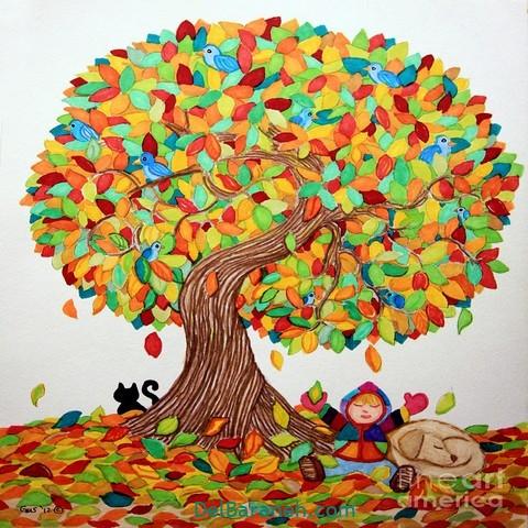 نقاشی پاییز کودکانه (۲)