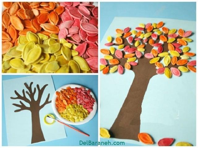 کاردستی پاییز با تخمه و مقوا