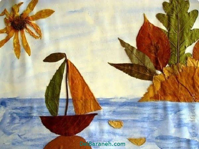 کاردستی پاییز با برگ خشک