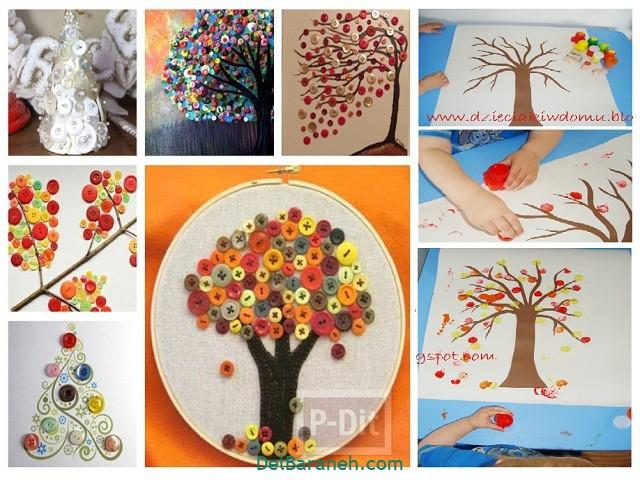 کاردستی پاییز با دکمه رنگ دورریختنی