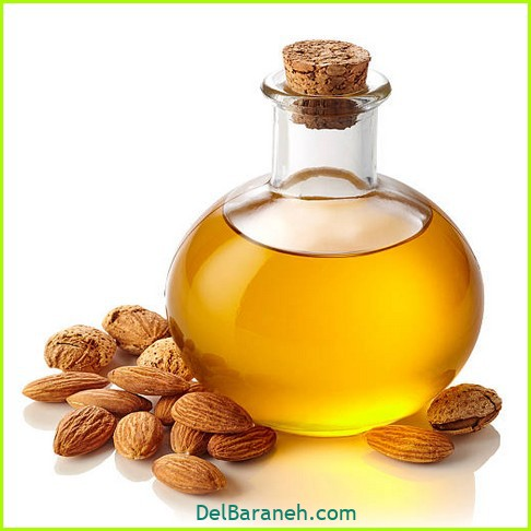 Bottle of almond oil isolated on white background