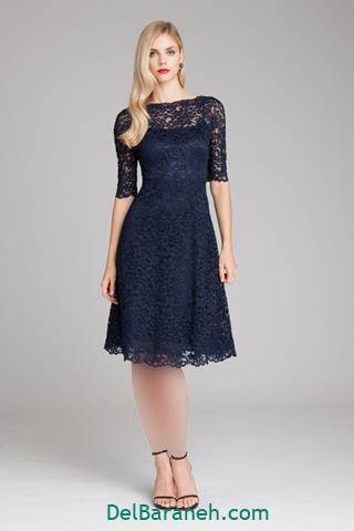 مدل لباس مجلسی کوتاه مشکی آستین بلند