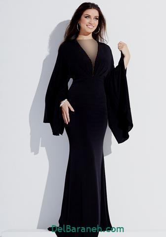 مدل لباس مجلسی استین دار بلند مخمل مشکی