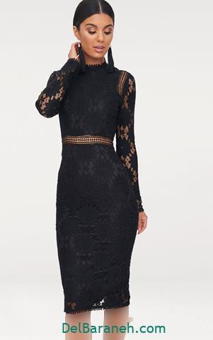 مدل لباس مجلسی آستین دار توری مشکی