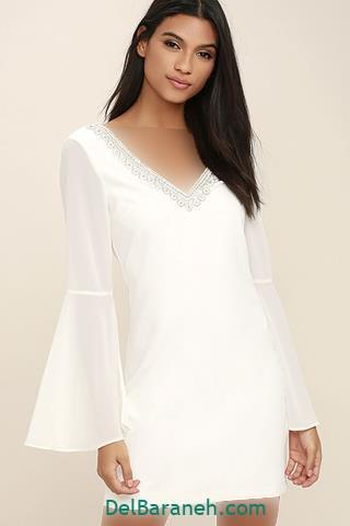 مدل لباس مجلسی آستین دار رنگ سفید