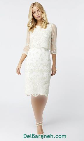 مدل لباس مجلسی آستین دار سفید کوتاه