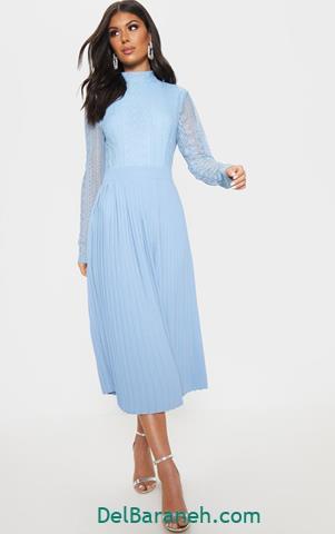 مدل لباس مجلسی آستین دار آبی آسمانی