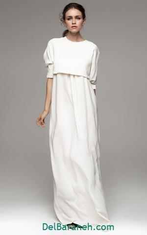 مدل لباس مجلسی آستین دار سفید ساده
