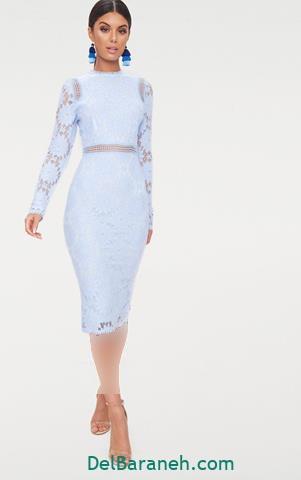 مدل لباس مجلسی آستین دار کوتاه آبی شیک