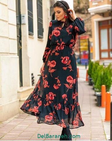 مدل لباس مجلسی استین دار بلند دخترانه