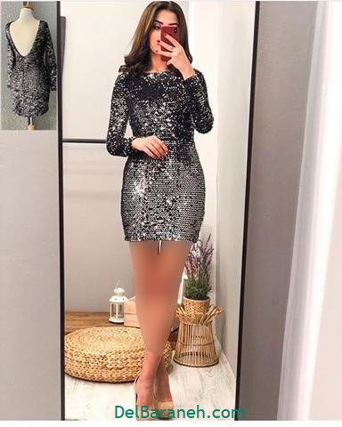 مدل مدل لباس مجلسی استین دار پشت باز