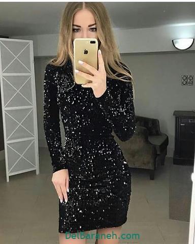 مدل لباس مجلسی آستین دار تور