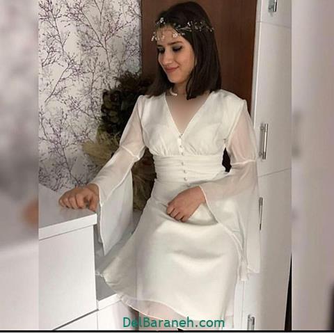 مدل لباس مجلسی آستین دار توری