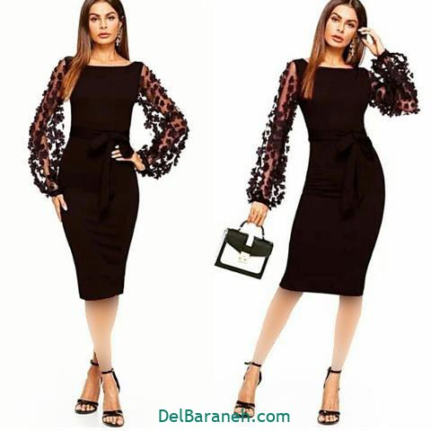 مدل لباس مجلسی استین چاک دار